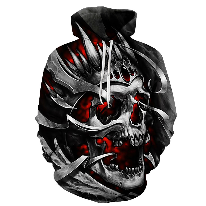 New Skull Men's Hooded Sweatshirt 3D Skull Fashion Double-sided Design Youth Men And Women Casual Pullover Cool Men's Clothing