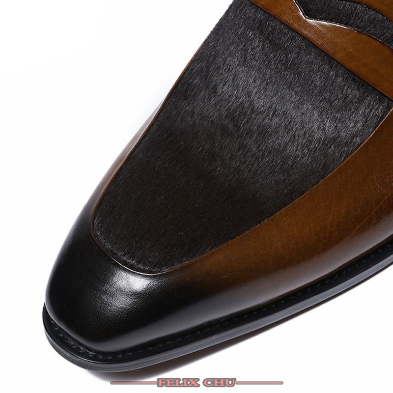 Włoski styl mężczyźni buty wsuwane na co dzień wysokiej jakości skórzane eleganckie czarne brązowe buty Slip On wesele buty ze spiczastym noskiem mężczyzn w Buty wizytowe od Buty na  Grupa 3