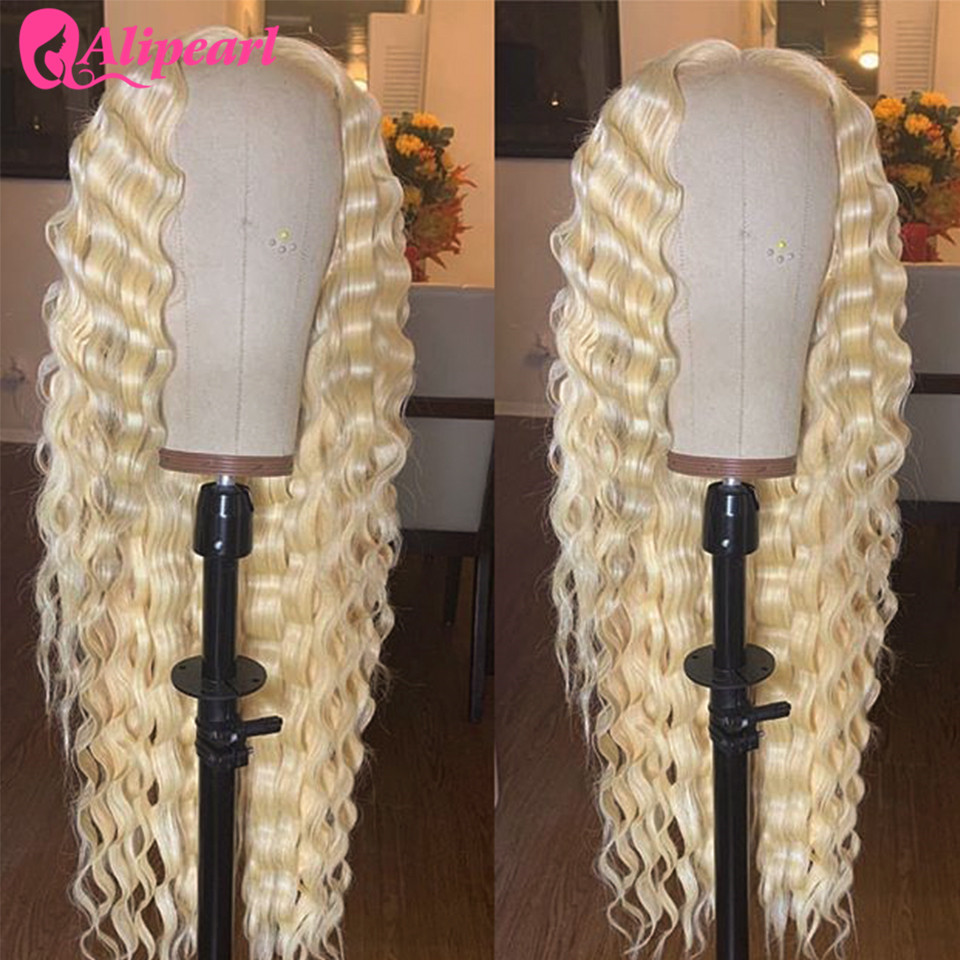 613 Deep Wave Blonde Lace Front Human Hair Wigs Pre Plucked Brazilian Lace Wigs For Black Women 130 180% Density AliPearl Hair image