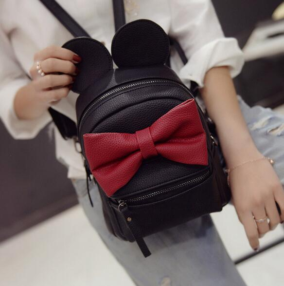 Mickey Backpack 2017New Female bag Quality PU leather Women Backpack Mickey ears Sweet girl bow College Wind Travel Shoulder Bag fashion handbags pu leather women shoulder bag mickey big ears shell sweet bow chains crossbody female mini small messenger bag