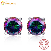 6 4ct Natural Mystic Fire Rainbow Topaz Round Earrings Silver 925 Stud For Women Piercing Ear