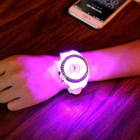 LED Light Flash Luminous Watches Women Men Boys Girls Silicone Wrist Watch Fashion Rhinestone Clock Kids Children Relogio Saati Multan