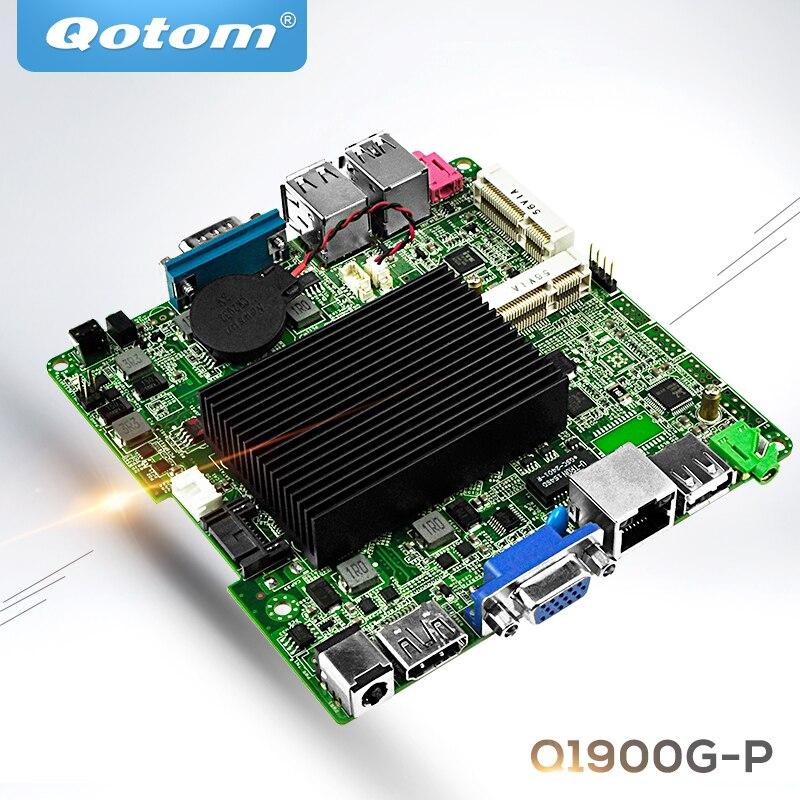 Qotom Mini itx motherboard с процессором Bay Trail j1900 Quad core 2.0 GHz Fanless Nano ITX материнская плата