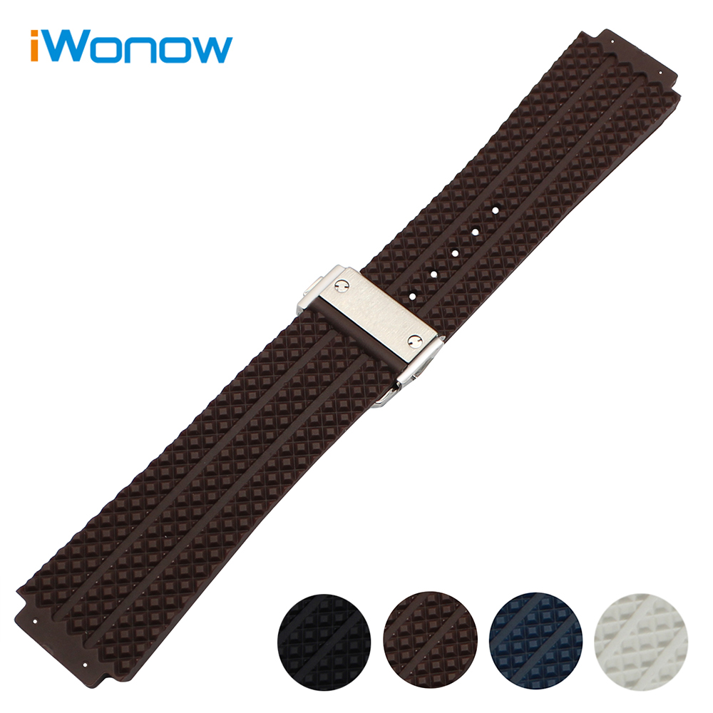 26mm x 19mm Soft Rubber Watchband for Hub Silicone Watch Band Wrist Strap Steel Butterrfly Clasp