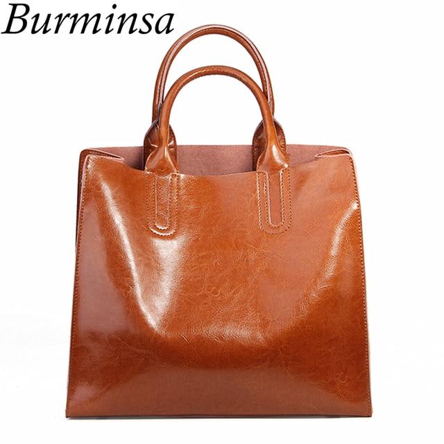 5cc786d71769 Burminsa Ladies Genuine Leather Bags Vintage Female Shoulder Messenger Bags  Large Capacity Women Handbag 2018 Black Coffee Brown