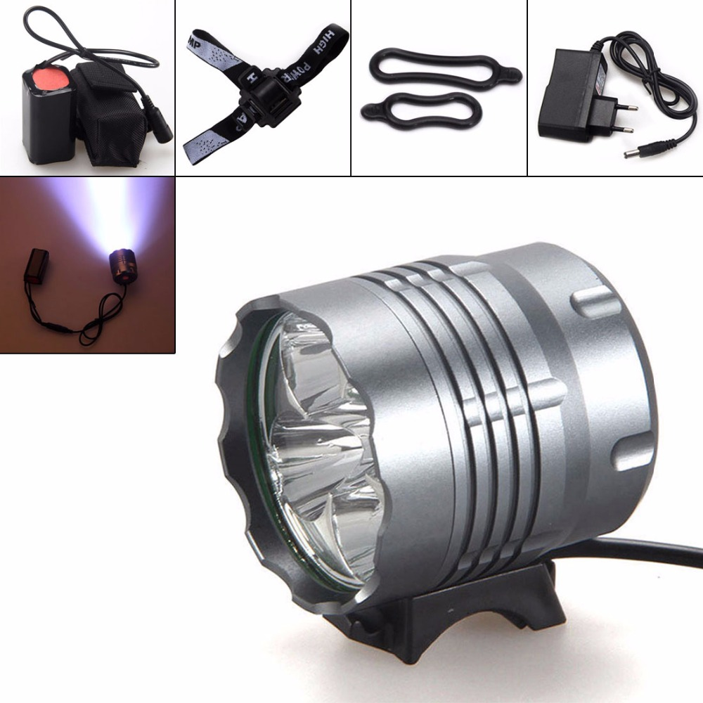 Securitying Waterproof 8000Lm XM-L U2 LED Front Bicycle Light Bike Headlamp Head Lamp Headlight+ 2 Laser 5 LED Rear Light