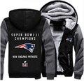 Thicken Hoodie Super Bowl Li Champion! Patriots FOOT BALL Team Men Women Fleece Zipper Jacket Clothing Casual Coat