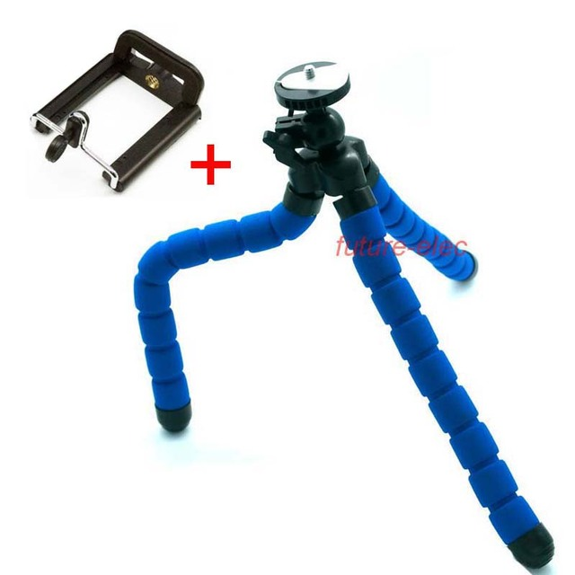 buy popular a5b94 713a3 US $9.5 |Blue Octopus Leg Rubber Feet Flexible Tripod Bracket+CellPhone  Mobilephone Holder Clip for iPhone 4 4S 5 5S 5C 6 6plus Sony MOTO-in  Tripods ...