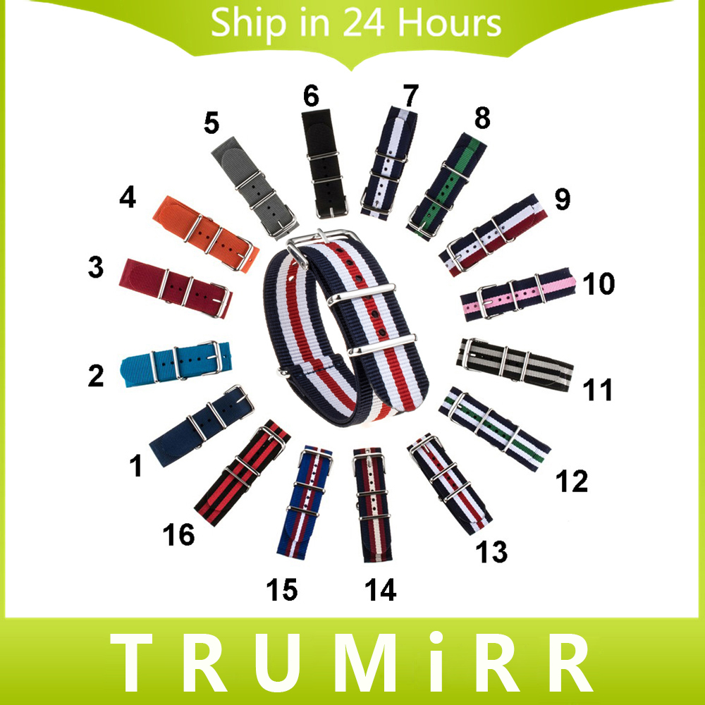 TRUMiRR 18mm 20mm Nylon Watchband Fabric Watch Band NATO Stainless Steel Buckle Strap Universal Wrist Bracelet Multi Color +Tool durable canvas fabric strap steel buckle wrist watch band 20mm 22mm pin buckle durable replacement watchband nato strap colorful