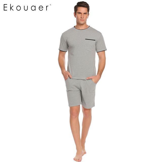 Ekouaer Для мужчин Двойка пижамы комплект одежды для сна короткий рукав футболка и шорты Комплект мужской должен Lounge домой спать Костюмы