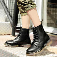 Femmes bottes mode cuir chaussures femme taille 35-45 mode cheville cuir bottes Martins bottes femmes Oxfords chaussures botas mujer