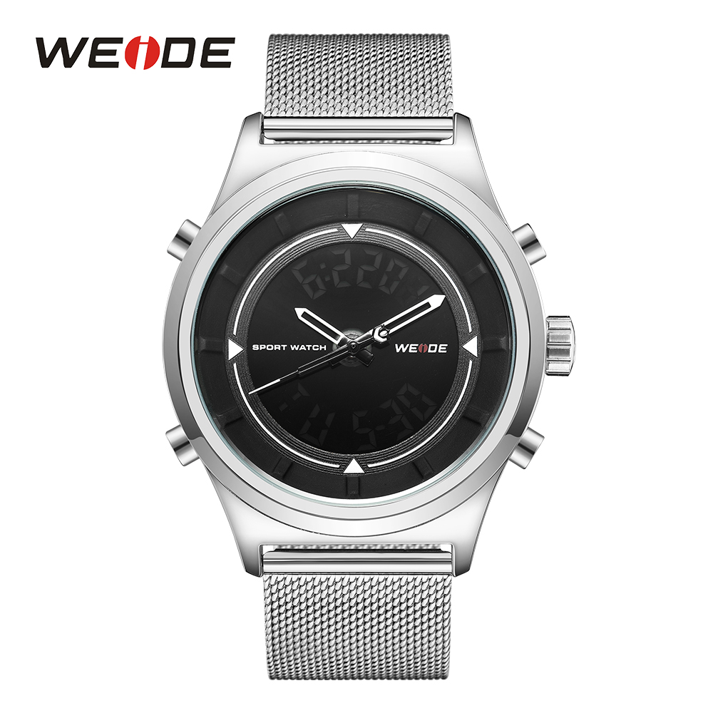 WEIDE Sports Mens Black Digital Watches Back Light Stopwatch Analog LCD Display Calendar Date Day Quartz Movement Wristwatches weide men sports watch quartz digital lcd display stopwatch silicone strap buckle date black dial military wristwatches for man