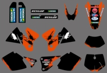 NEW GRAPHICS DECALS STICKERS WITH MATCHING BACKGROUNDS FIT FOR KTM EXC 125 200 250 300 380 400 1998 1999 2000 FULL SIZE MODELS