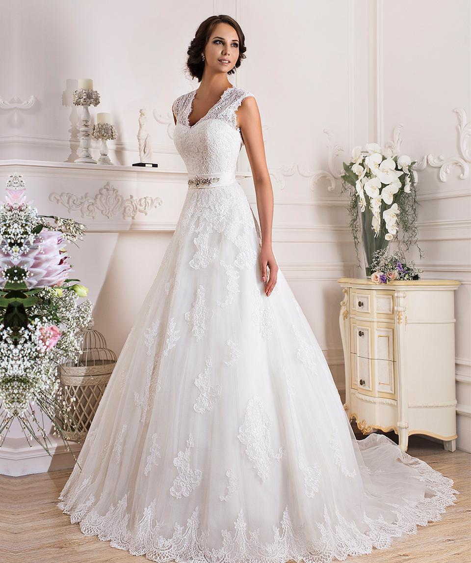 Wholesale New Design Elegant V Neck A Line Lace Wedding Dress Tulle ...