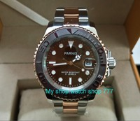 41MM PARNIS Coffee color dial Japanese Automatic Self Wind movement Ceramic bezel Sapphire Crystal luminous men's watch df137a