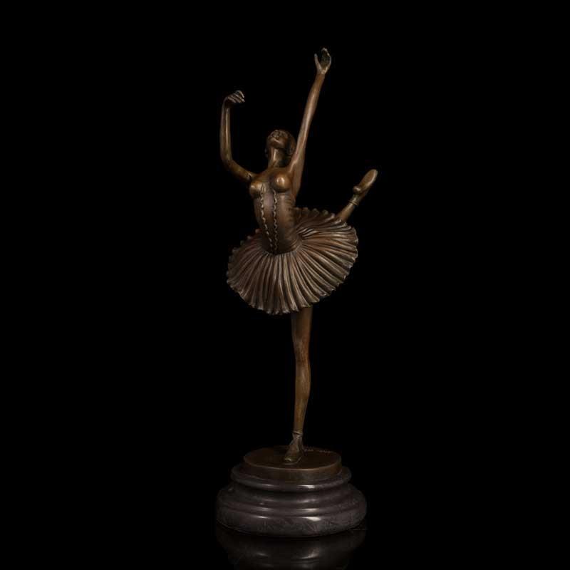 ATLIE 100 Handmade Female Woman Ballet Player Bronze Sculpture Girl Statue Figurine Study Room Decor in Statues Sculptures from Home Garden