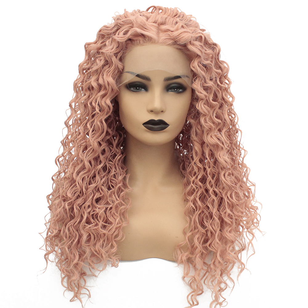 V'nice Rose Gold Wig Synthetic Lace Front Heat Resistent Middle Parting Loose Curl Wigs For Women Light Beige Brown Lace