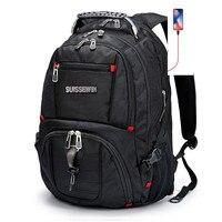 swiss backpack 17 male travel army waterproof gear Men's laptop Bagpack Waterproof Nylon men Backpack Black Mochila Masculina