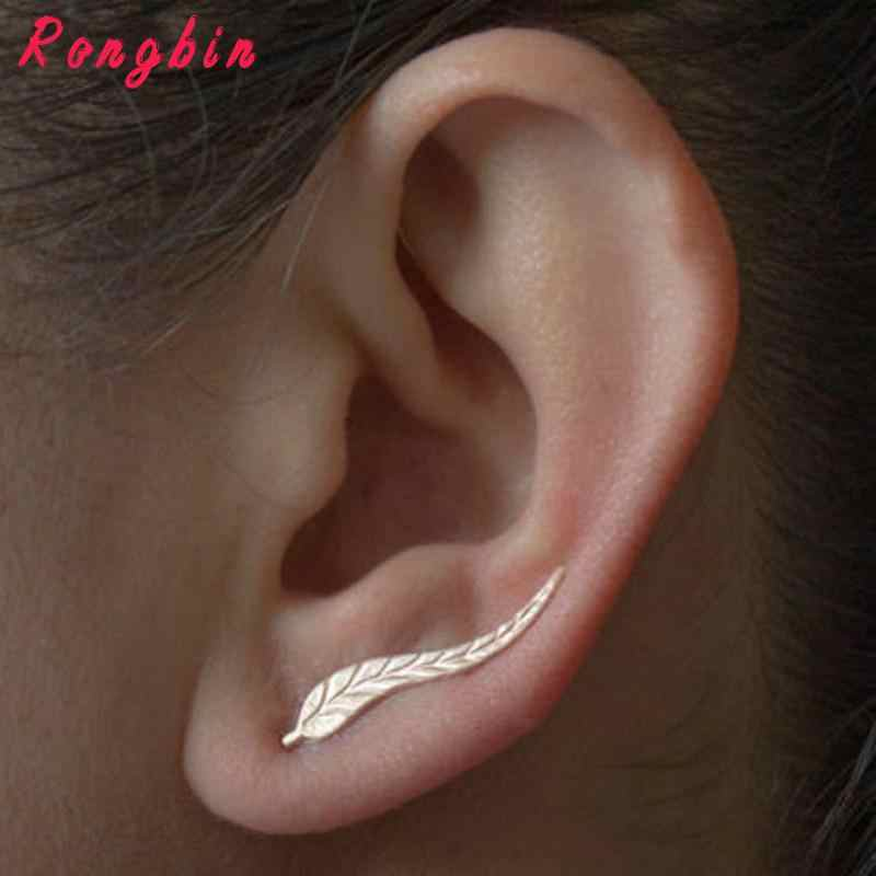 Trendy Women Gold Silver Leafs Ear Cuffs Sweep Wrap Climber Ear Stud Earrings Jewelry brincos boucle d'oreille femme