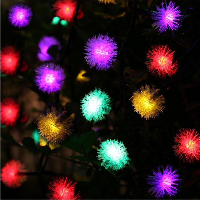 7M 50 LED Solar Lights Chuzzle Ball Fairy Decorative Lights for Outdoor Garden Patio Party and Holiday Decorations (Multi-Color)