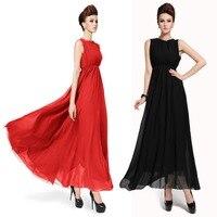 2018 Cheap Black Chiffon Red Elegant Dress Ladies Slim Plus Size Empire Women Gowns Ankle Length Long Prom Gown Summer Dress