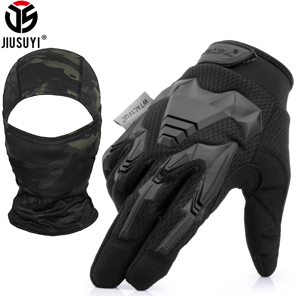 Tactical Army Military Gloves Balaclava Set Paintball Shooting Airsoft Combat Rubber Full Finger Glove Face Mask Sets Two-Piece