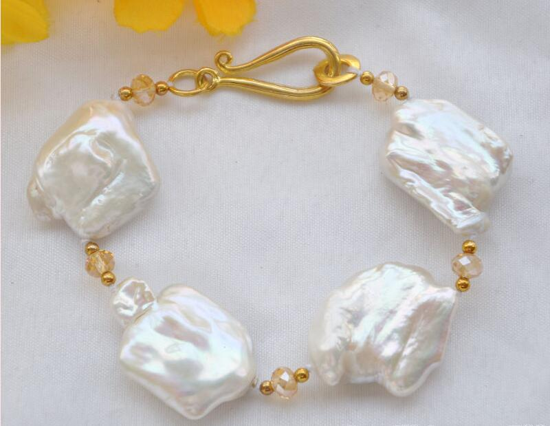 Free shipping hot sale Women Bridal Wedding Jewelry >>8 30mm WHITE BAROQUE KESHI REBORN PEARL crystal faceted BRACELET