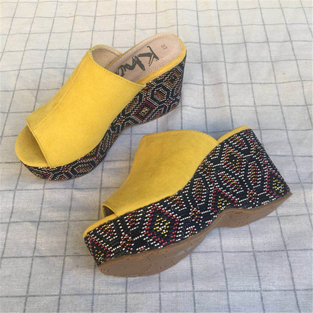 Yellow Fashion Summer Casual Ladies Shoes Platform Wedges High Heels Mules Open  Toe Women Slippers Peep Toe Crystal Slides Shoes ad864e095b