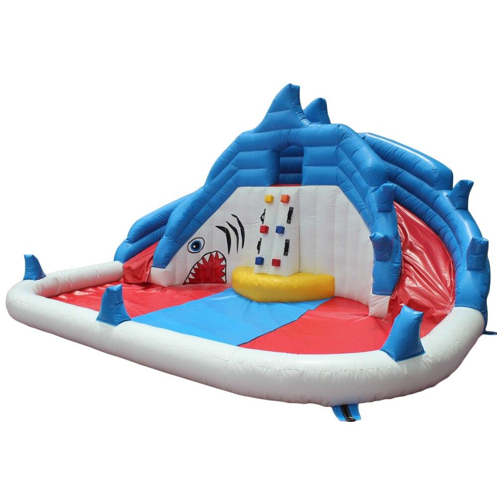 yard backyard shark inflatable water slide swimming pool water