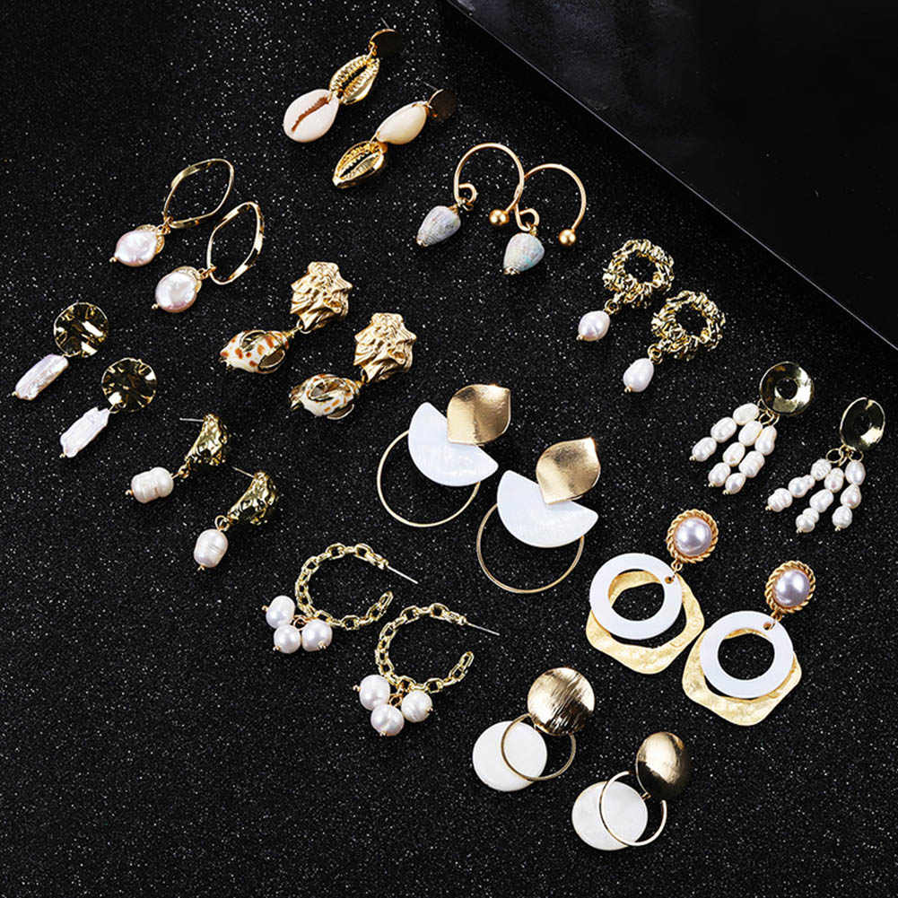 Baroque Freshwater Pearl Earrings for Women Natural Sea Shell Dangle Drop Earrings New Gold Color Big Statement Jewelry
