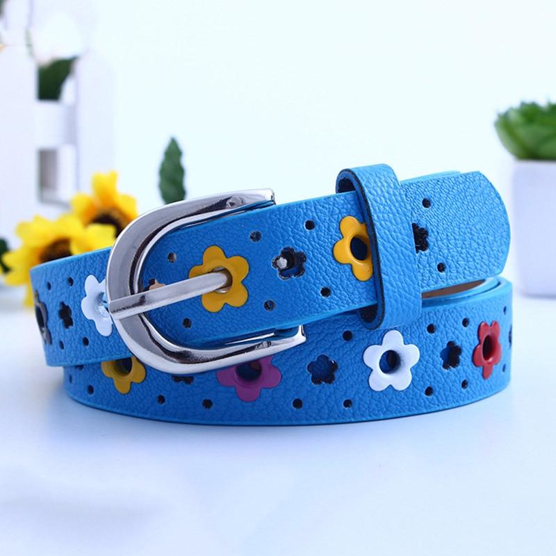 Открытое платье с пояском для девочек цветы, полиуретан, кожа с металлической пряжкой пояс для девочки дети Искусственная кожа Ремешки поясная цепочка - Цвет: blue