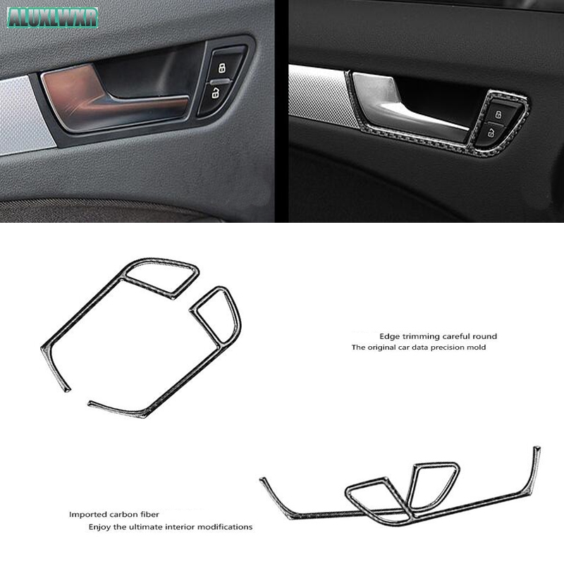 Inner Side Door Handle Bowl Cover Trim Fit for Audi A4 B8 2008-2015 Accessories 4PCS Car Interior Car-styling Real Carbon Fiber image