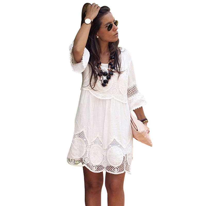 Plus Size S- <font><b>6XL</b></font> Women Summer Lace <font><b>Dress</b></font> White Half Sleeve A-Line Hollow Out Mini <font><b>Dress</b></font> Loose Causal <font><b>Sexy</b></font> Party <font><b>Dresses</b></font> image