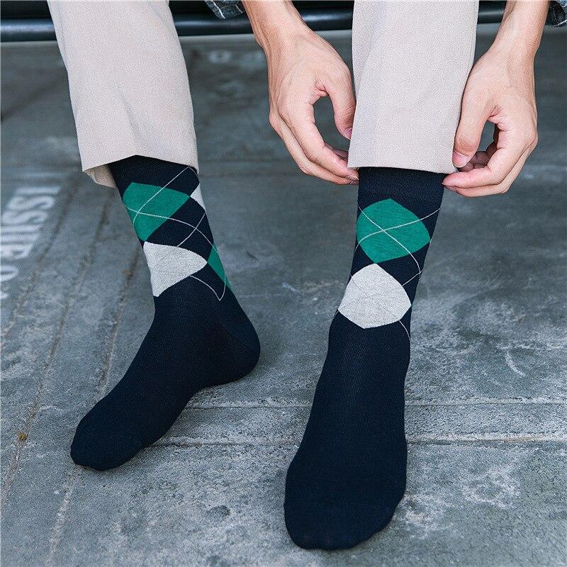 Leisure French diamond lattice design mens socks high quality cotton business brand socks for successful men 5pairs wholesale