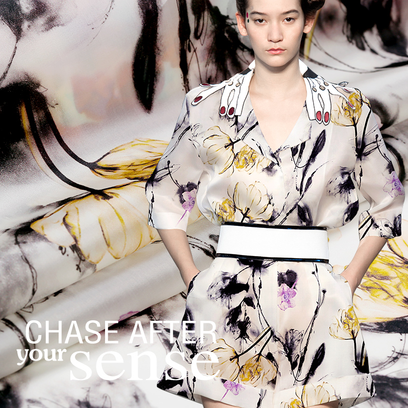 140 см шириной 12 мм чернила китайский стиль цветок печати шелковой органзы эйкен тонкие одежды платье ткани