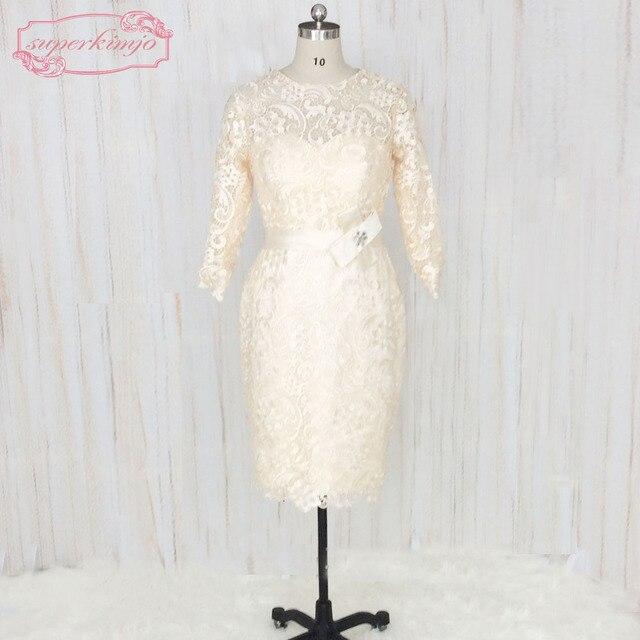 67c5b260a202 SuperKimJo Manica Lunga Vestiti Da Sera Corto 2018 madre della Sposa Abiti  di Pizzo Applique Eleganti