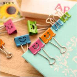 JESJELIU 10x  Smile Metal Binder Clips For Home Office School File Paper Organizer