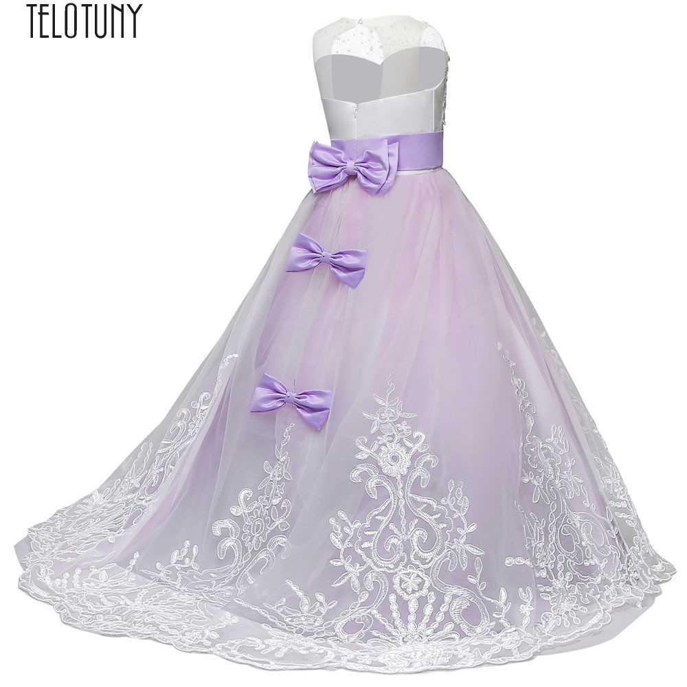 TELOTUNY детское платье кружевное платье принцессы для девочек; одежда для подружки невесты; одежда для торжеств детское платье-пачка с фатиновой юбкой, платье Вечерние свадебное платье кружевное платье для девочек новое модное Dec6
