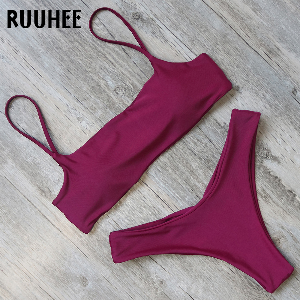 RUUHEE Bikini traje de baño para mujer traje de baño Bikini sólido conjunto Push Up traje de baño 2018 ropa de playa femenina traje de baño con acolchado