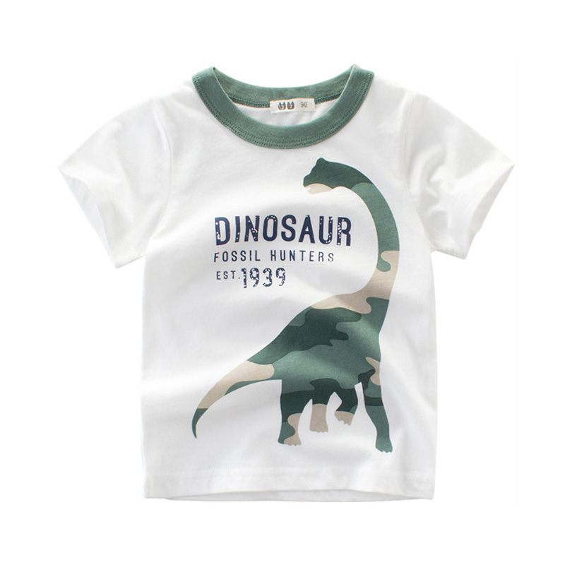 2018 Summer Boys T Shirts Clothing Short Sleeve 100% Cotton Dinosaur Cartoon Children T Shirts Girls 2-8Y High Quality Kids Tees