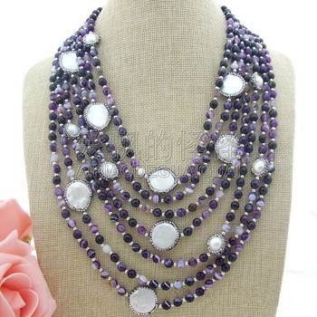 N061303 7Strands 20''-28'' White Coin Pearl  Necklace