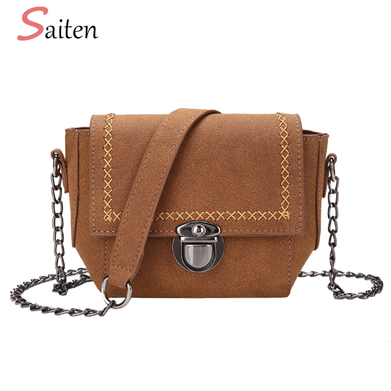 Vintage Nubuck Leather Women Crossbody Bags Famous Brands Messenger Bags For Women Small Flap Fashion Chain Ladies Shoulder Bag
