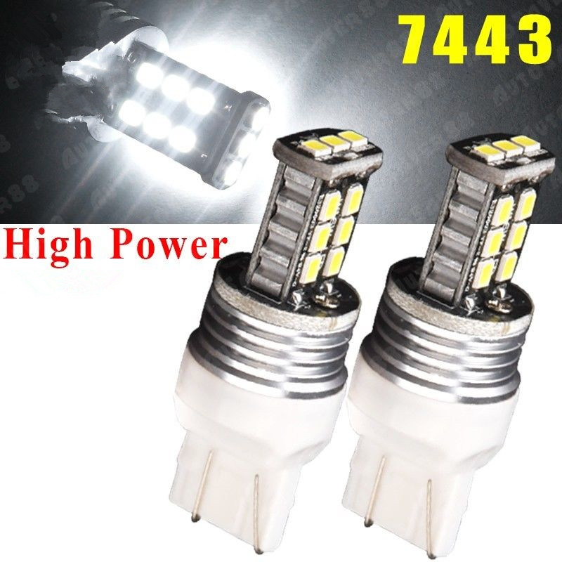 CYAN SOIL BAY 2PCS 7443 7440 T20 2835 7W High Power Xenon White Backup Reverse Side Marker Light 7441 Brake Bulb Lamp