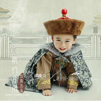 Guan Man Jin Hua Qing Dynasty Prince Costume Little Prince Qi Zhuang Photography Costume for Birthday Children's Day Performance new arrival film performance wear blue embroidered dragon brocade the qing dynasty prince clothes chinese ancient costume male