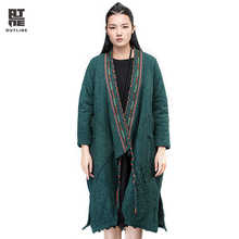 Outline Winter Vintage National Trend Coat Long Split Hem Trench Cotton Overcoat Warm Thicken Casual Plus