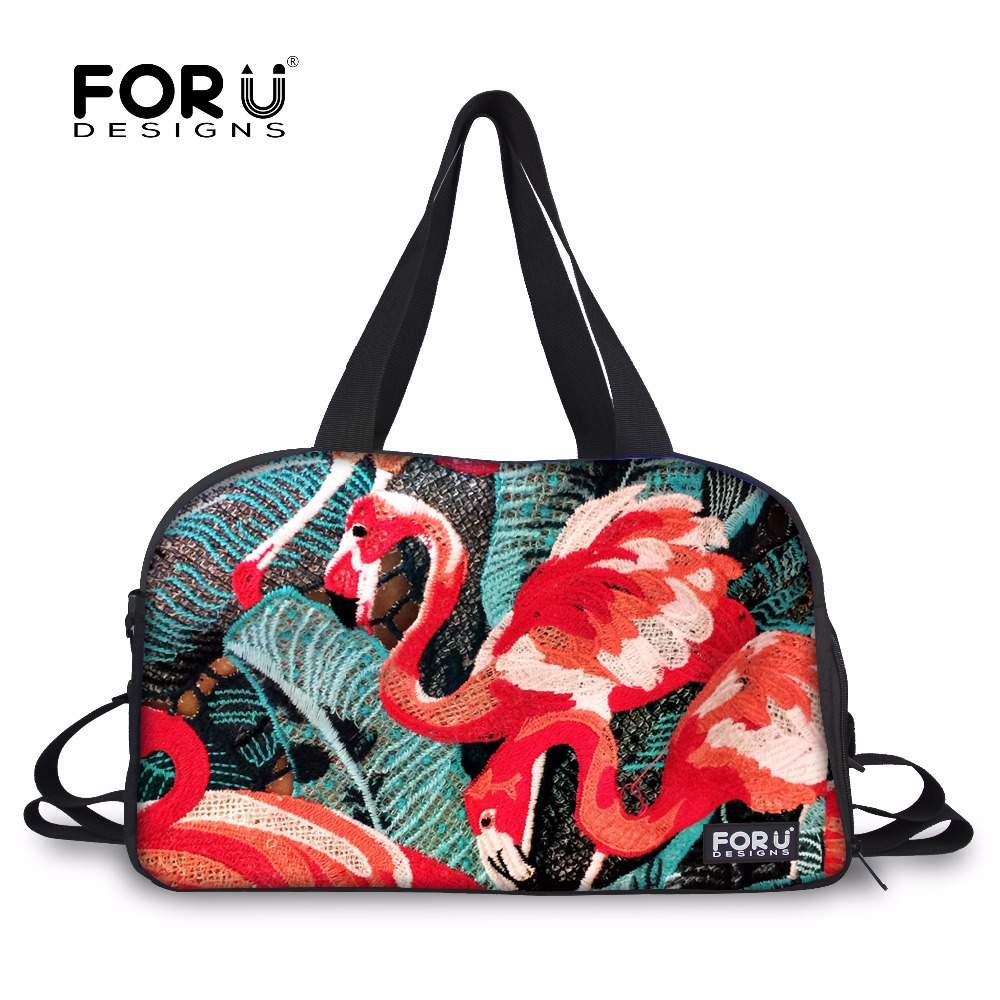 FORUDESIGNS Flamingo Travel Bag Women Duffle Large Capacity Luggage Tote Female Casual Canvas Bags Fashion Big Shoulder Satchel tegaote newest women travel bags large capacity duffle luggage big casual tote bag nylon waterproof bolsas female handbags