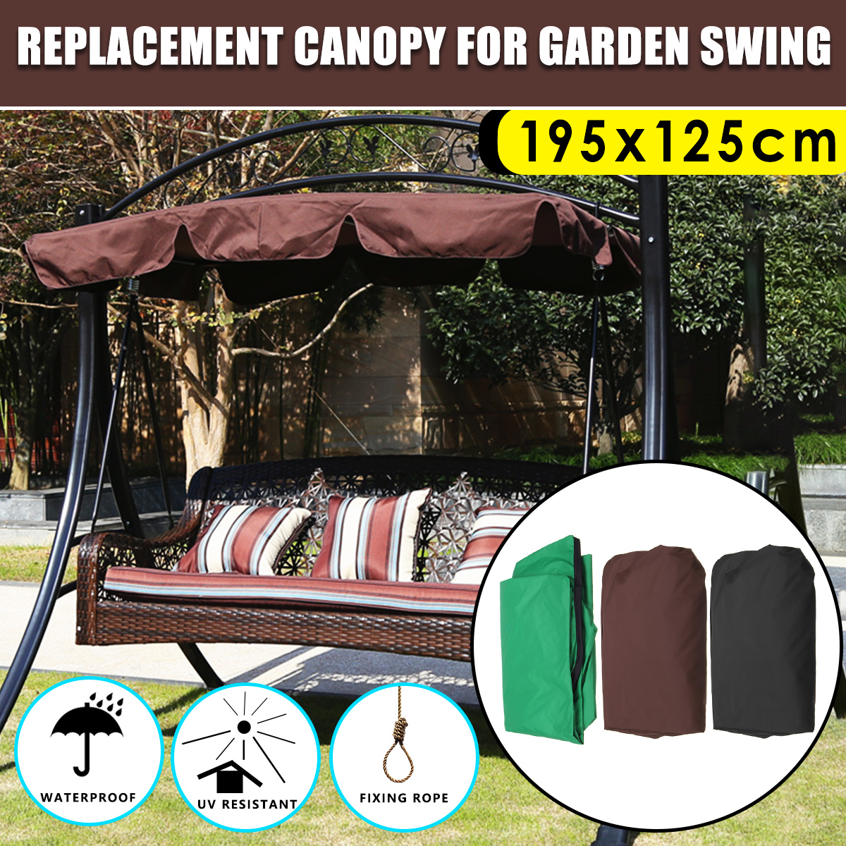 Swing Chair Canopy Replacement Patio Reclining Summer Awning Waterproof Top Cover For Garden Courtyard Ourdoor Hammock
