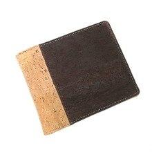Cartera de corcho plegable para hombre, billetera corta de cuero vegano, tarjetero, Color Beige y marrón