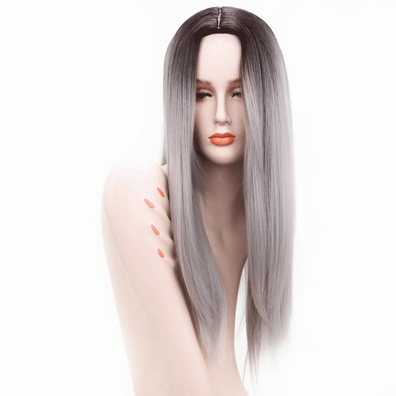 26inch Anime Straight Long Cosplay Wig Synthetic Hair Heat Resistant Black Green Grey Brown Ombre Wigs For Women Peruca