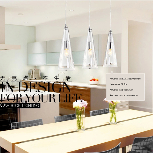 E14 LED 3lights  Glass crystal hanging lamps long Cone  pendant lamp stairwell Library studio art decorative lighting Luminaire